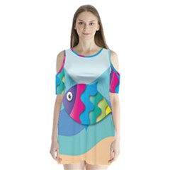 Illustrations Fish Sea Summer Colorful Rainbow Shoulder Cutout Velvet One Piece