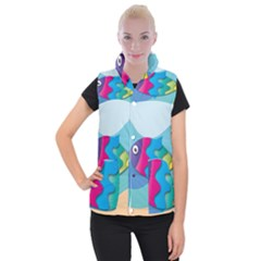 Illustrations Fish Sea Summer Colorful Rainbow Women s Button Up Vest