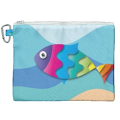 Illustrations Fish Sea Summer Colorful Rainbow Canvas Cosmetic Bag (xxl)