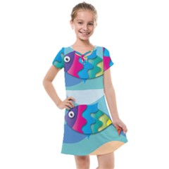 Illustrations Fish Sea Summer Colorful Rainbow Kids  Cross Web Dress by HermanTelo