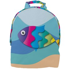 Illustrations Fish Sea Summer Colorful Rainbow Mini Full Print Backpack
