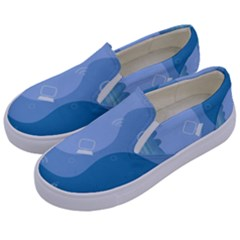 Online Woman Beauty Blue Kids  Canvas Slip Ons by Mariart