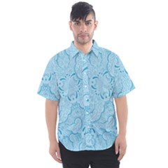 Blue Lines Pattern Men s Short Sleeve Shirt