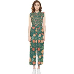 Christmas Pattern 3 Women s Frill Top Jumpsuit