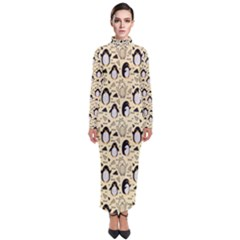 Cute Penguin Love Turtleneck Maxi Dress