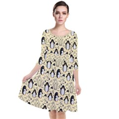 Cute Penguin Love Quarter Sleeve Waist Band Dress
