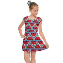 Illustrations Watermelon Texture Pattern Kids  Cap Sleeve Dress by Alisyart