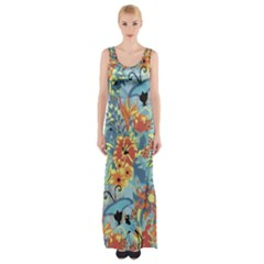 Butterfly And Flowers Thigh Split Maxi Dress