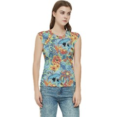 Butterfly And Flowers Women s Raglan Cap Sleeve Tee by goljakoff