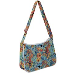 Butterfly And Flowers Zip Up Shoulder Bag