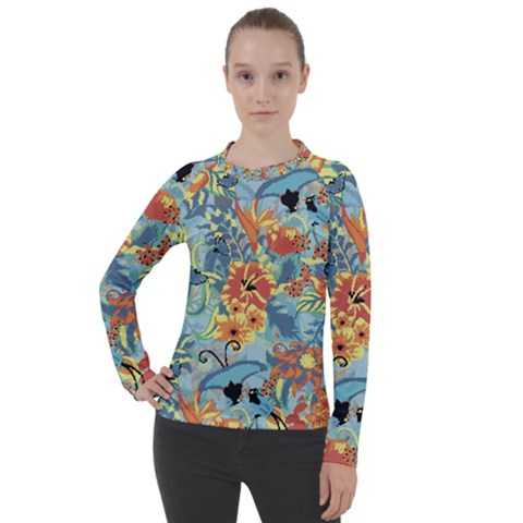 Butterfly And Flowers Women s Pique Long Sleeve Tee by goljakoff