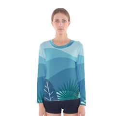 Illustration Of Palm Leaves Waves Mountain Hills Women s Long Sleeve Tee