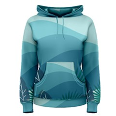 Illustration Of Palm Leaves Waves Mountain Hills Women s Pullover Hoodie