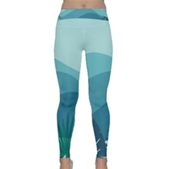 Illustration Of Palm Leaves Waves Mountain Hills Classic Yoga Leggings