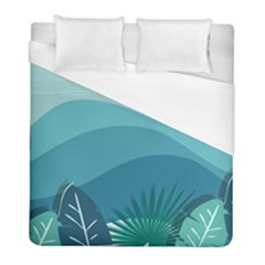 Illustration Of Palm Leaves Waves Mountain Hills Duvet Cover (full/ Double Size)