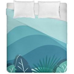Illustration Of Palm Leaves Waves Mountain Hills Duvet Cover Double Side (california King Size)