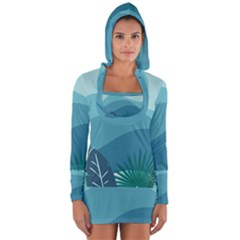 Illustration Of Palm Leaves Waves Mountain Hills Long Sleeve Hooded T-shirt