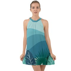 Illustration Of Palm Leaves Waves Mountain Hills Halter Tie Back Chiffon Dress