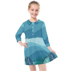 Illustration Of Palm Leaves Waves Mountain Hills Kids  Quarter Sleeve Shirt Dress
