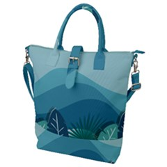 Illustration Of Palm Leaves Waves Mountain Hills Buckle Top Tote Bag