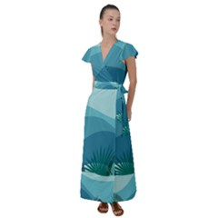 Illustration Of Palm Leaves Waves Mountain Hills Flutter Sleeve Maxi Dress