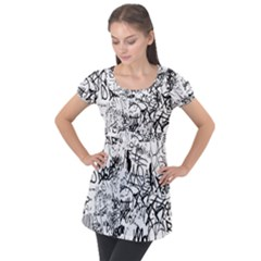 Black And White Graffiti Abstract Collage Puff Sleeve Tunic Top by dflcprintsclothing