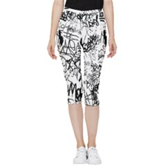 Black And White Graffiti Abstract Collage Inside Out Lightweight Velour Capri Leggings  by dflcprintsclothing