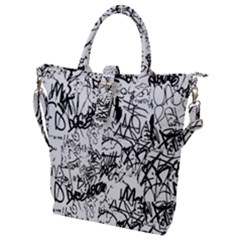 Black And White Graffiti Abstract Collage Buckle Top Tote Bag