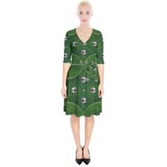 One Island In A Safe Environment Of Eternity Green Wrap Up Cocktail Dress