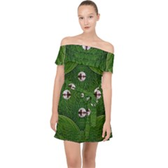 One Island In A Safe Environment Of Eternity Green Off Shoulder Chiffon Dress