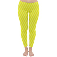 Brite Yellow Faded White Lines Diagonal Winter Leggings