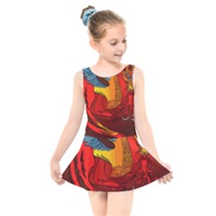 Dragon Metallizer Kids  Skater Dress Swimsuit