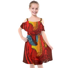Dragon Metallizer Kids  Cut Out Shoulders Chiffon Dress