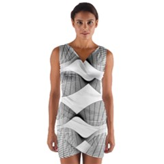Making Waves Modern Urban Graphic Black And White Wrap Front Bodycon Dress