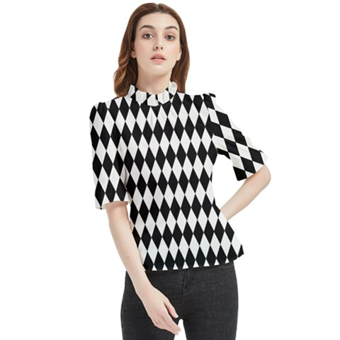 Blackwhitediomandssmall Frill Neck Blouse by DayDreamersBoutique