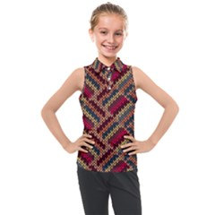 Geometric Knitting Kids  Sleeveless Polo Tee