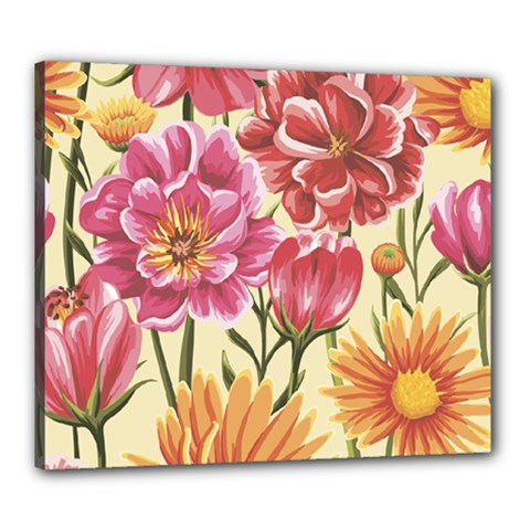 Retro Flowers Canvas 24  X 20  (stretched) by goljakoff