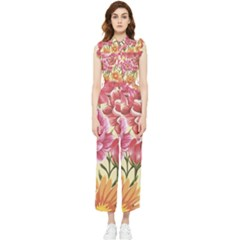 Retro Flowers Women s Frill Top Jumpsuit by goljakoff