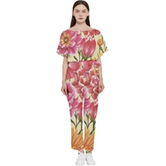 Retro Flowers Batwing Lightweight Jumpsuit by goljakoff