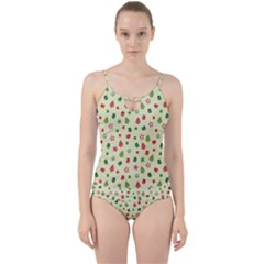 Cute Christmas Pattern Cut Out Top Tankini Set