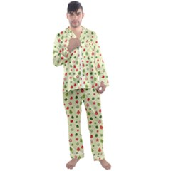 Cute Christmas Pattern Men s Long Sleeve Satin Pajamas Set