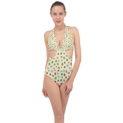 Cute Christmas Pattern Halter Front Plunge Swimsuit