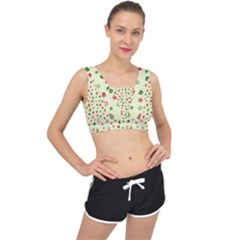 Cute Christmas Pattern V-back Sports Bra