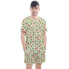 Cute Christmas Pattern Men s Mesh Tee And Shorts Set