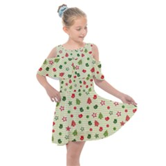 Cute Christmas Pattern Kids  Shoulder Cutout Chiffon Dress