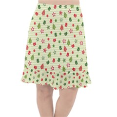Cute Christmas Pattern Fishtail Chiffon Skirt