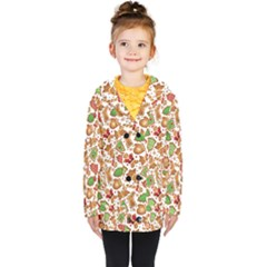 Christmas Love 6 Kids  Double Breasted Button Coat