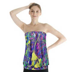 Vibrant Abstract Floral/rainbow Color Strapless Top