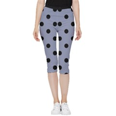 Large Black Polka Dots On Cool Grey - Inside Out Lightweight Velour Capri Leggings  by FashionLane