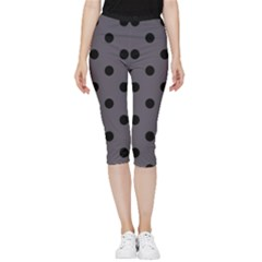 Large Black Polka Dots On Dark Smoke Grey - Inside Out Lightweight Velour Capri Leggings  by FashionLane